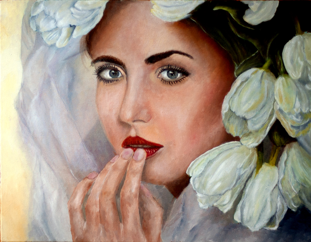 Dame mit Tulpen